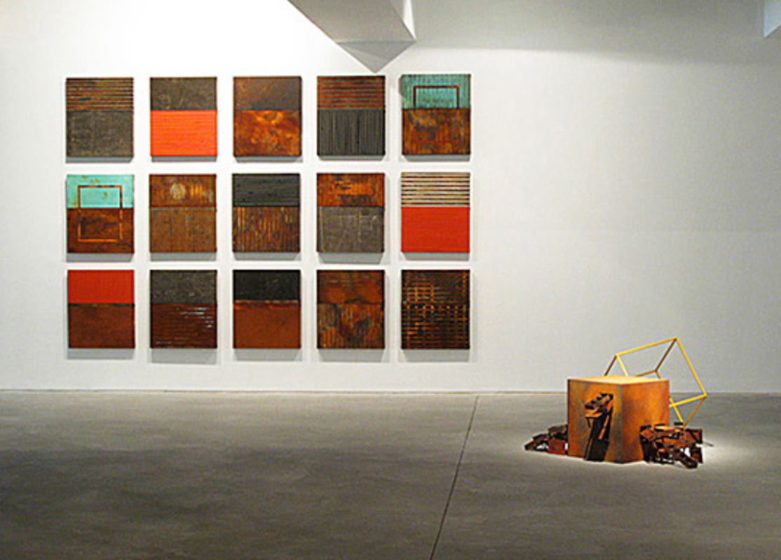 "Partial view with the sculpture ""Preta com amarelo"" from the Open House series, 2007 - 2008