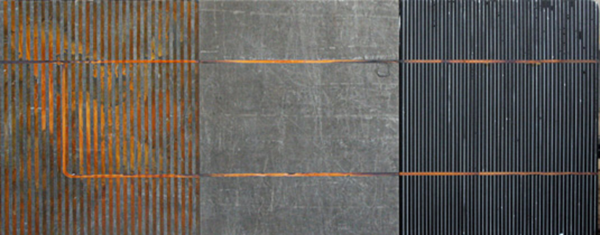 Triptych, 2007, Carbon steel oxidation and oil on tarp, 120 x 280 cm