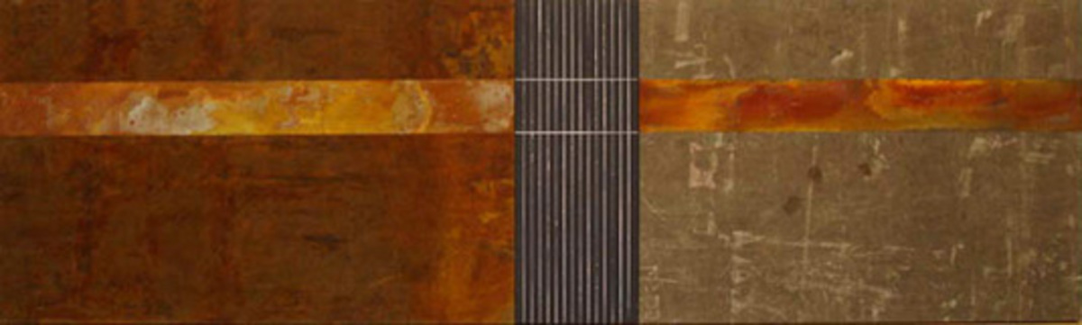 Triptych, 2008, Carbon steel oxidation and oil on tarp, 100 x 280 cm