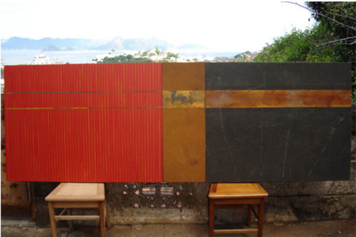 Triptych, 2008. Carbon steel oxidation and oil on tarp, 100 x 260 cm