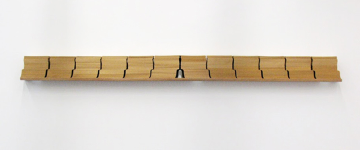 Sonar, from the series Rack-Objects, 2009. Wood, Paper and Bell, 18 x 225 x 10 cm