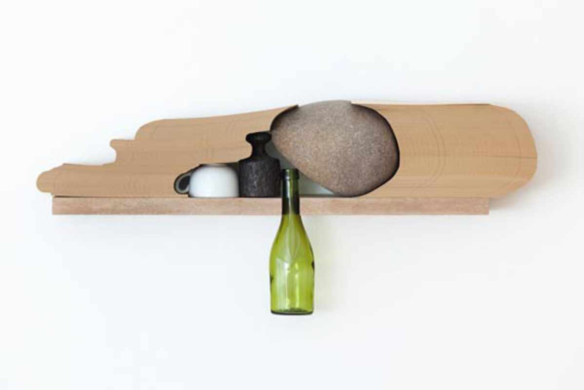 Mesa Posta, from the series Objetos-Prateleira, 2010. Wood, Iron, Glass Bottle and cup, 29 x 66 x 12 cm