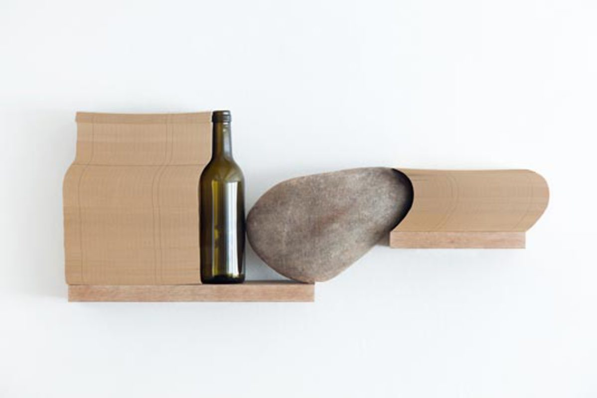 Untitled, from the series Objetos-Prateleira, 2010. Wood, Ston, Iron and Glass Bottle, 25,5 x 65 x 10 cm