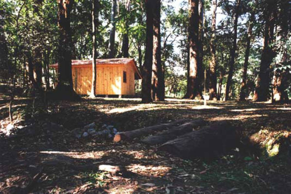 Intervention at Parque do Ibirapuera, 25a Sao Paulo Biennal, 2002. Prefabricated wooden House, 45m2.
