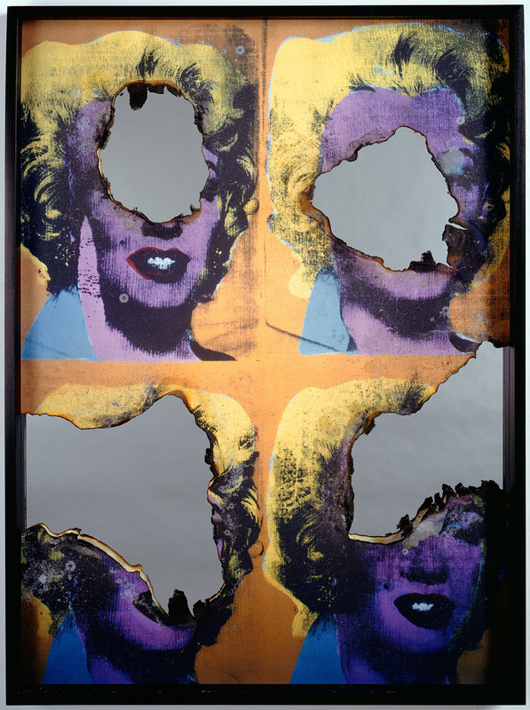 DOUGLAS GORDON/ Self Portrait of You + Me (1 piece multi Marilyn), 2008 Burned Print, Smoke and Mirror, 120 x 90 x 7cm
